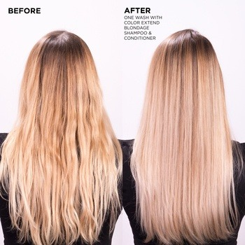 Redken Blondage Shampoo and Conditioner remove brassiness from blonde hair